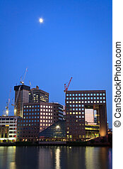 Southbank, London. - Office buildings at Southbank at dusk.