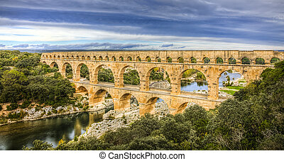Pont Du Gard - Pont du Gard is an old Roman aqueduct near...