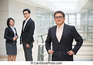 negócio,  CEO, Asiático, fundo, equipe,  Sênior