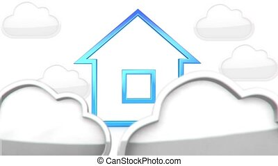 House in clouds - 3D animation of a simple objects for use...