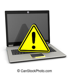Warning Triangle Laptop - Yellow warning triangle with...
