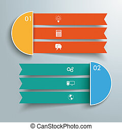 2 Triple Banners - Infographic design on the grey...