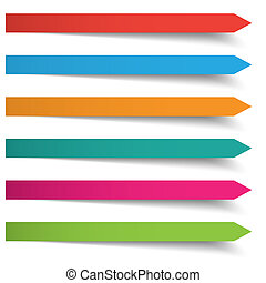 6 Colored Banners Long Arrows - Colored banners on the grey...