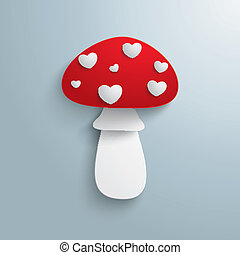Flye Agaric White Hearts - Fly agaric on the grey...