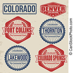 Set of Colorado cities stamps