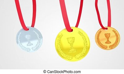 Medals loop animation - 3D animation of a simple objects for...