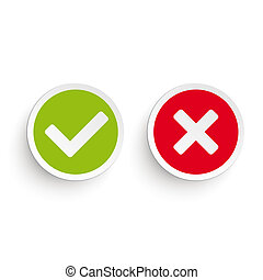 Yes No Round Icons - Yes and no round icons on the white...