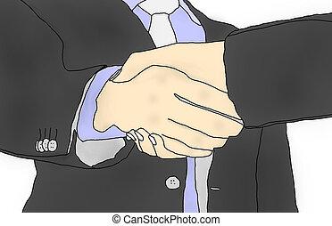 Business men hand shake - Business men hand shake in white...