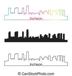 Incheon skyline linear style with rainbow in editable vector...