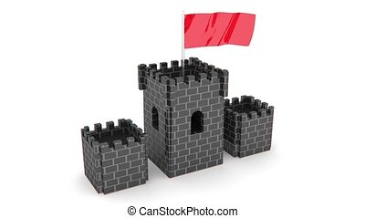 castle with red flag