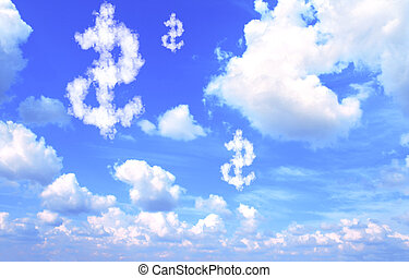 Dollar symbol from clouds on blue sky