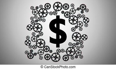 dollar in gears animation for use in presentations, manuals,...