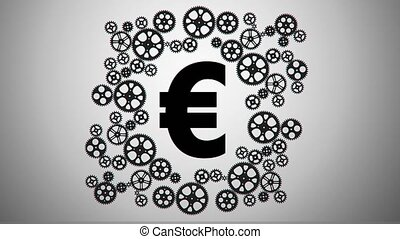 Euro in gears animation for use in presentations, manuals,...
