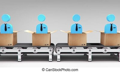 new employees conveyor animation for use in presentations,...