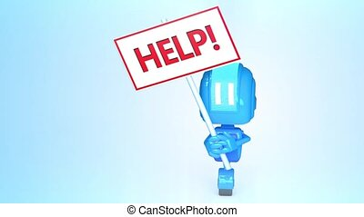 Blue robot with help sign - 3D loop animation of blue robot...