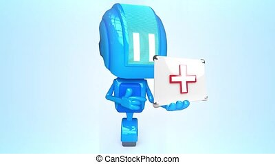 Blue robot with healing box - 3D loop animation of blue...