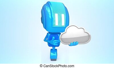 Blue robot with internet cloud - 3D loop animation of blue...