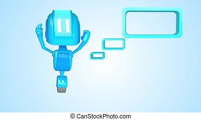Blue robot with blank message box - 3D loop animation of...