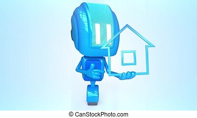 Blue robot with house icon - 3D loop animation of blue robot...