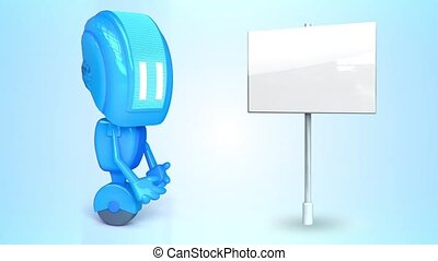Blue robot with blank sign - 3D loop animation of blue robot...
