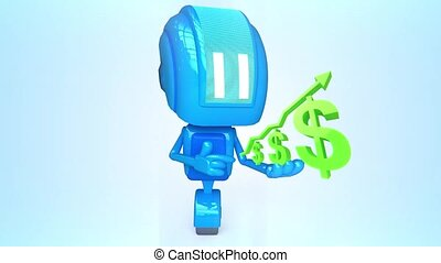 Blue robot with dollars - 3D loop animation of blue robot...