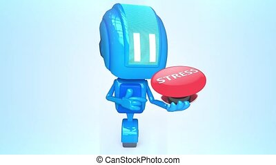Blue robot with stress button - 3D loop animation of blue...