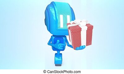 Blue robot with present