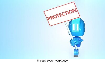 Blue robot with sign - 3D loop animation of blue robot with...