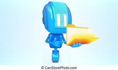 Blue robot with opening folder - 3D loop animation of blue...