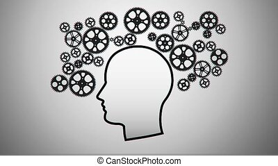 silhouette of a thinking person for use in presentations,...