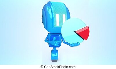 Blue robot with chart - 3D loop animation of blue robot with...
