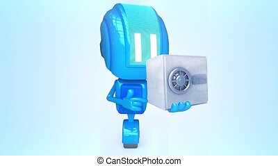 Blue robot with safe - 3D loop animation of blue robot with...