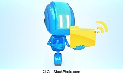 Blue robot with wireless folder - 3D loop animation of blue...