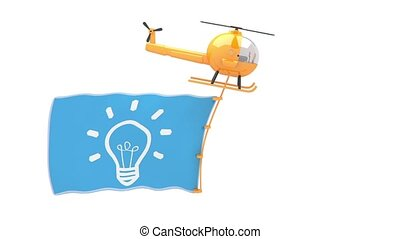 helicopter with idea flag for use in presentations, manuals,...