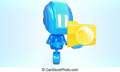 Blue robot with folder - 3D loop animation of blue robot...