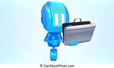 Blue robot with case - 3D loop animation of blue robot with...