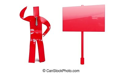 red man with sign - RED man on white background loop...