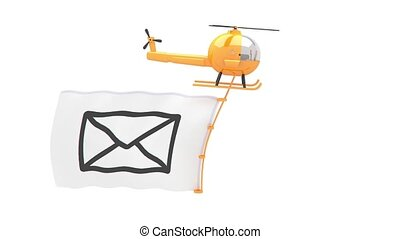 helicopter with mail flag for use in presentations, manuals,...