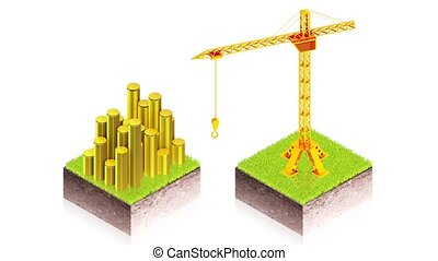 Crane with money - 3D animation of a simple objects for use...