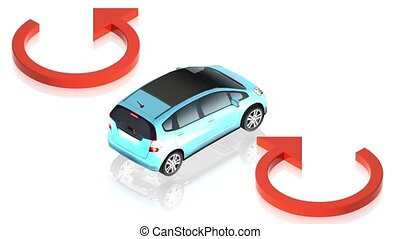 arrows with car - 3D animation of a simple objects for use...