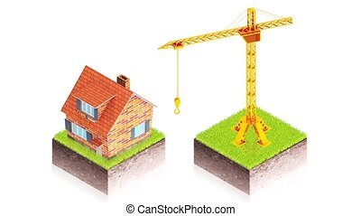 Crane with house - 3D animation of a simple objects for use...