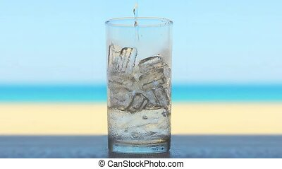 drink in the beach - Ice glass for use in presentations,...