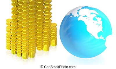 Coins with earth - 3D animation of a simple objects for use...
