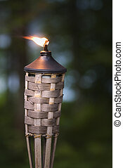 Tiki Torch - Lit oil lamp in the forest close to shore.