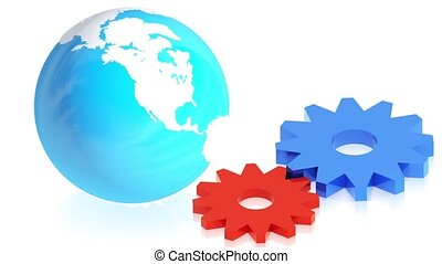 gears with earth - 3D animation of a simple objects for use...