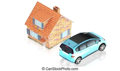 House with car - 3D animation of a simple objects for use in...
