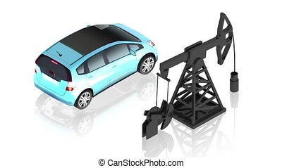 Oil pump with car - 3D animation of a simple objects for use...