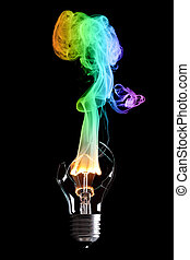 bulb and fire - bulb exploding with fire and smoke of colors