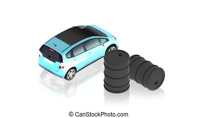 Oil with car - 3D animation of a simple objects for use in...
