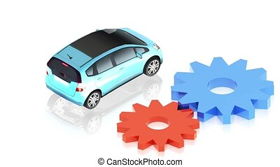 Grear with car - 3D animation of a simple objects for use in...